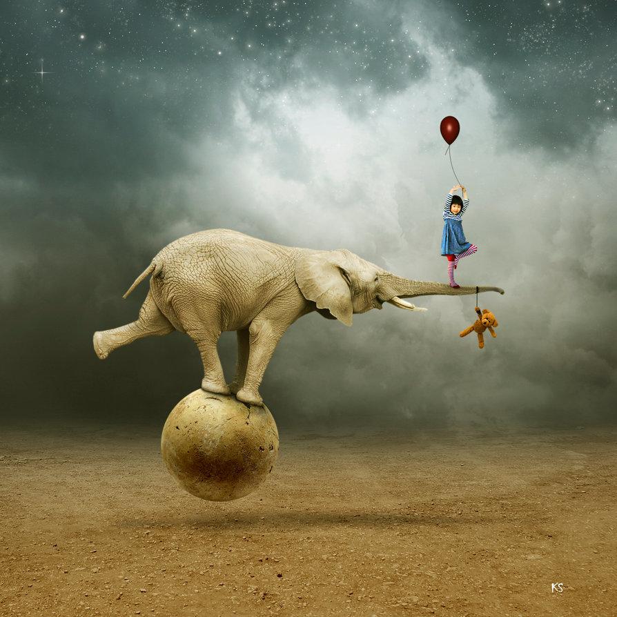 Картинка слон на шаре