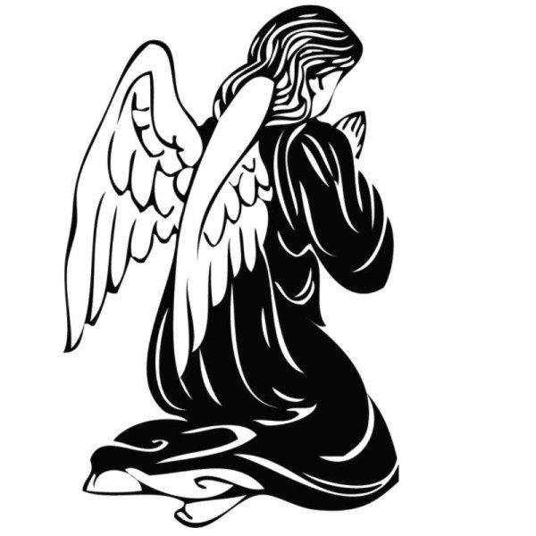 бравый картинка ангелка черно белого ожидании