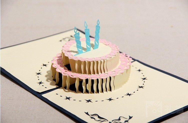 Открытка объемная торт своими