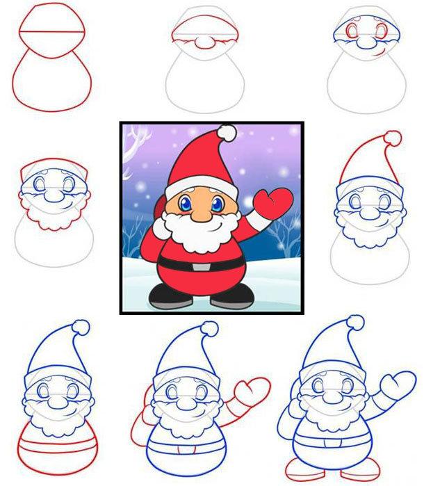 Новогодняя открытка пошагово рисунок