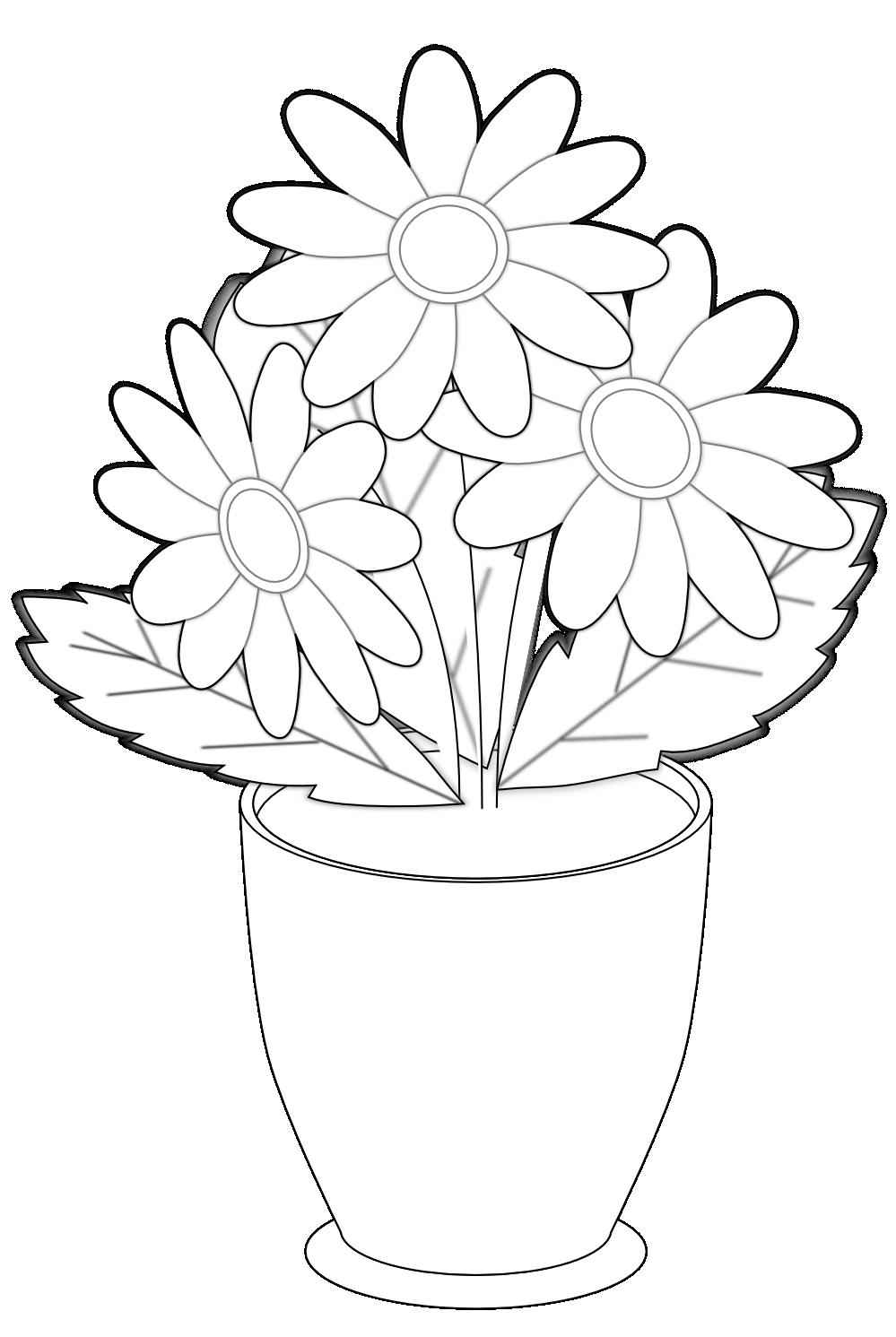 Шаблон открытки цветы в горшках, прикольные картинки
