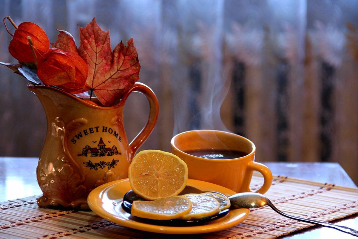 Открытки чашка чая в холодный осенний день с добрым утром, про бабочек роз