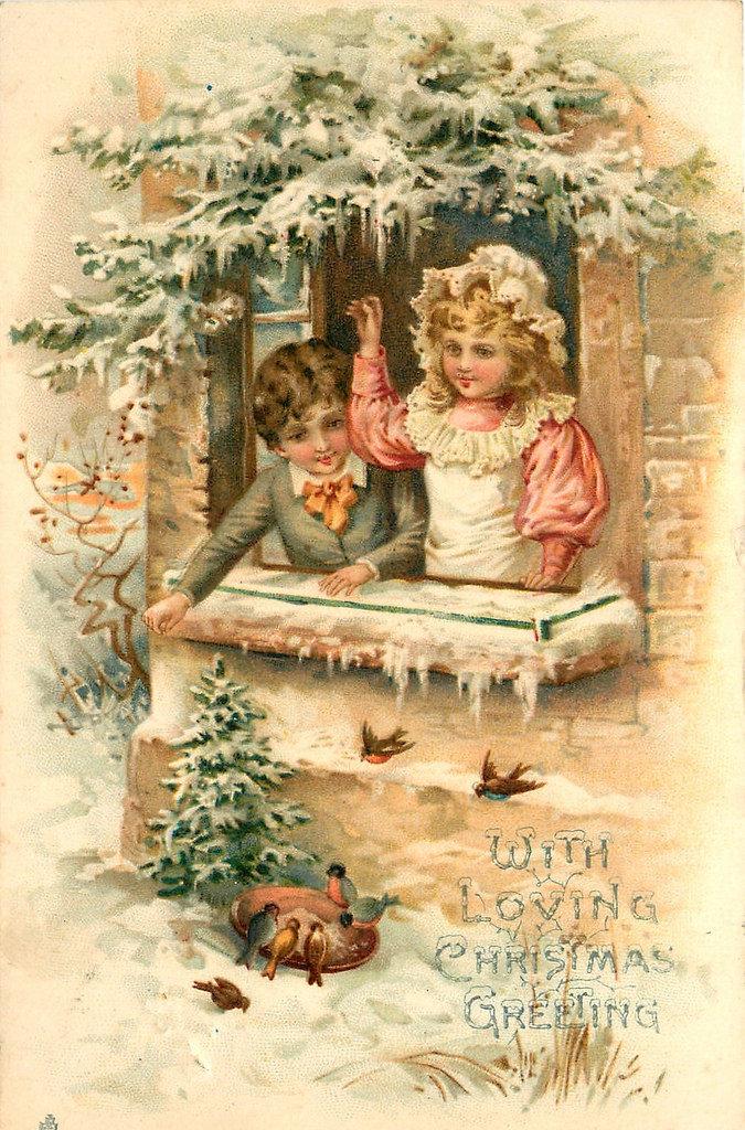 Рождественские открытки для девушек