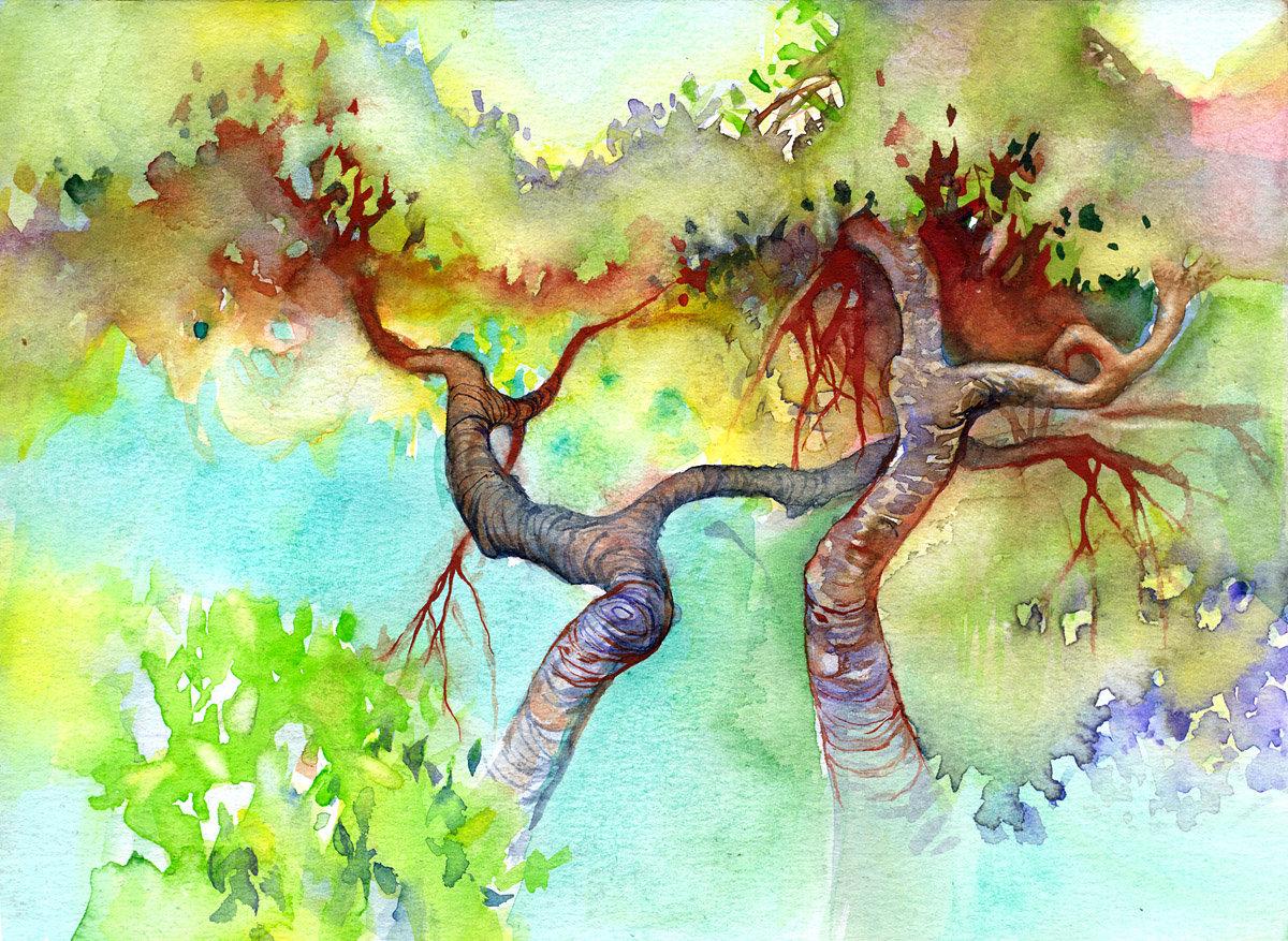 Деревья картинки красивые нарисованные, открытки добрым утром