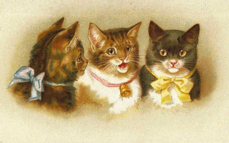 Винтажные открытки с котиками