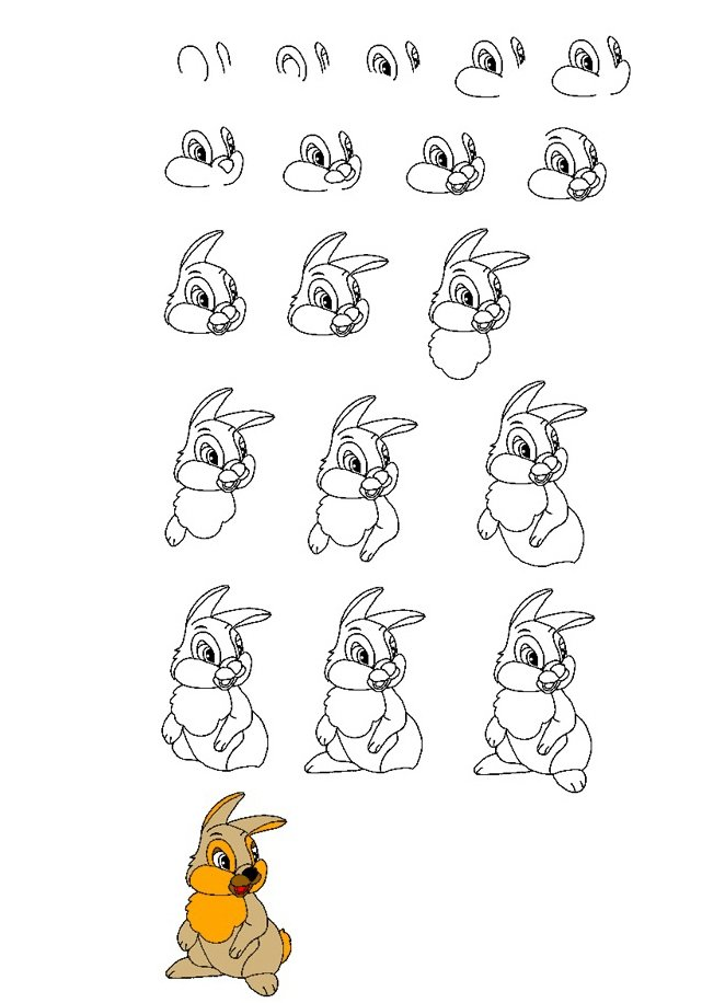 Открытка, нарисовать смешного зайца легко