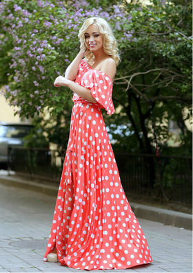 5d586b160bf Платье Красотка красное в белый горошек мини» — карточка ...