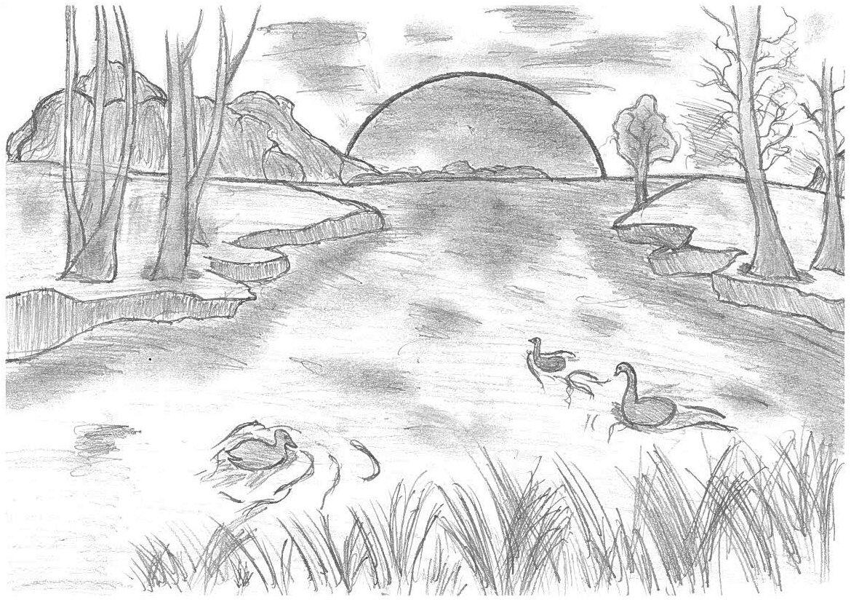 Картинки природа карандашом поэтапно