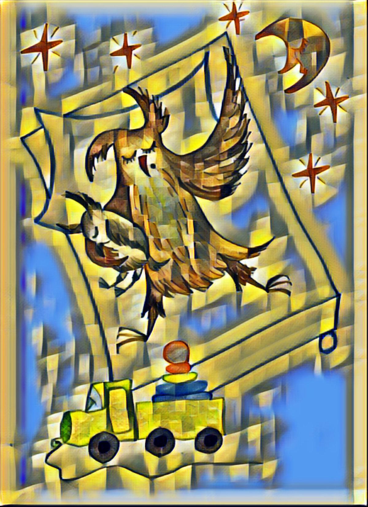 Красивые открытки бесплатно для вас, Beautiful postcards are free for you, p_i_r_a_n_y_a - Сова Ульяна. Сладкий сон - мозаика