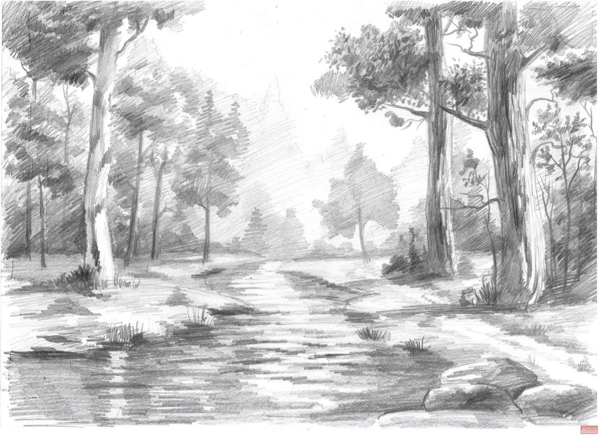 рисунки простым карандашом поэтапно пейзаж того, аддон