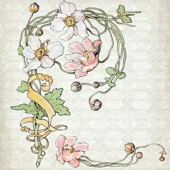 Розы арт-нуво картинки, поздравление днем