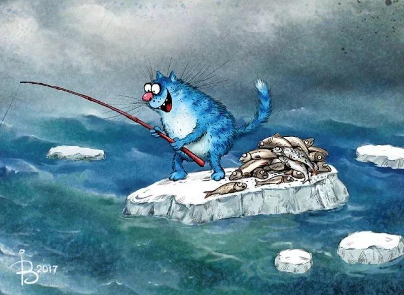 Днем города, картинки кот на рыбалке с удочкой