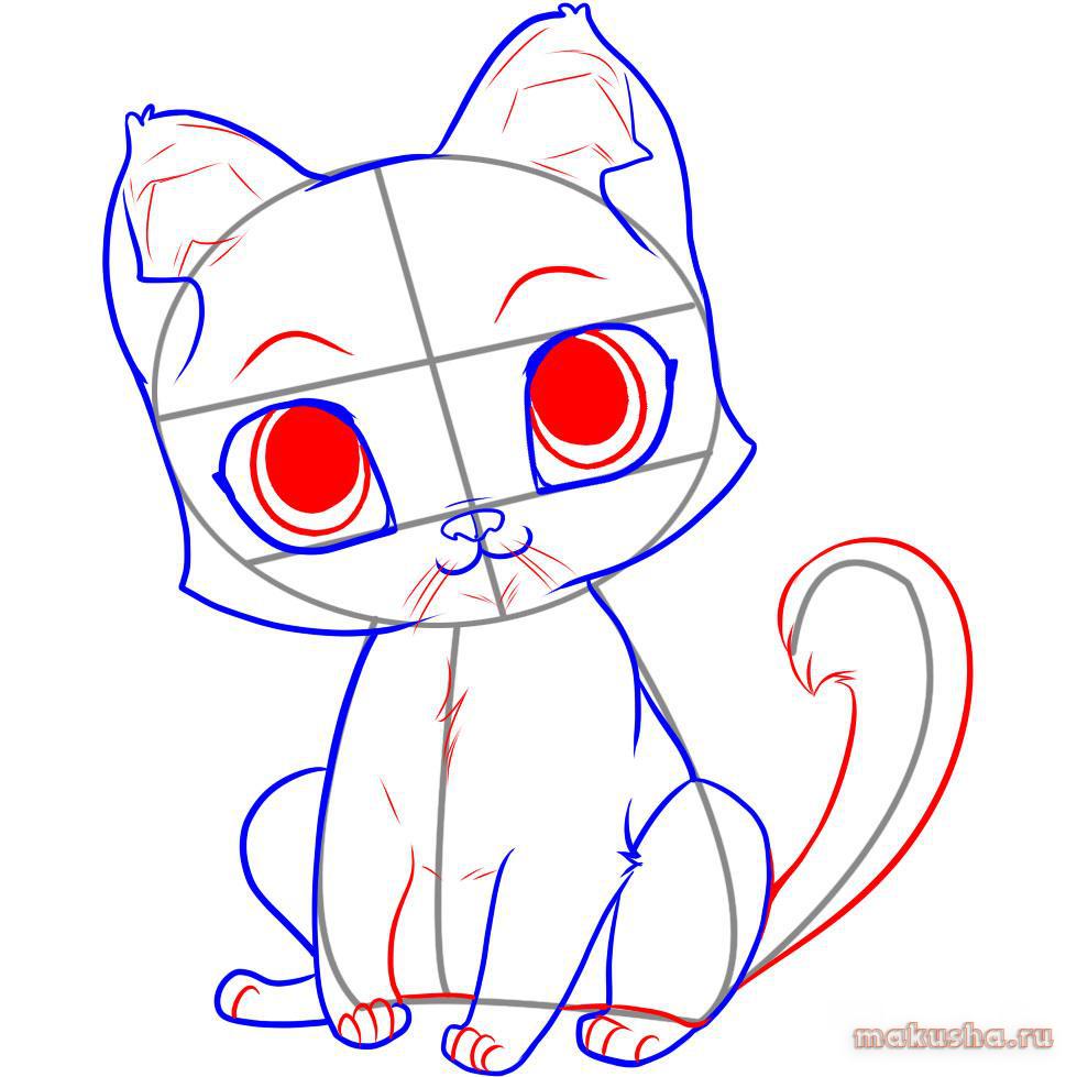 Картинки милых котят с милыми глазками поэтапно