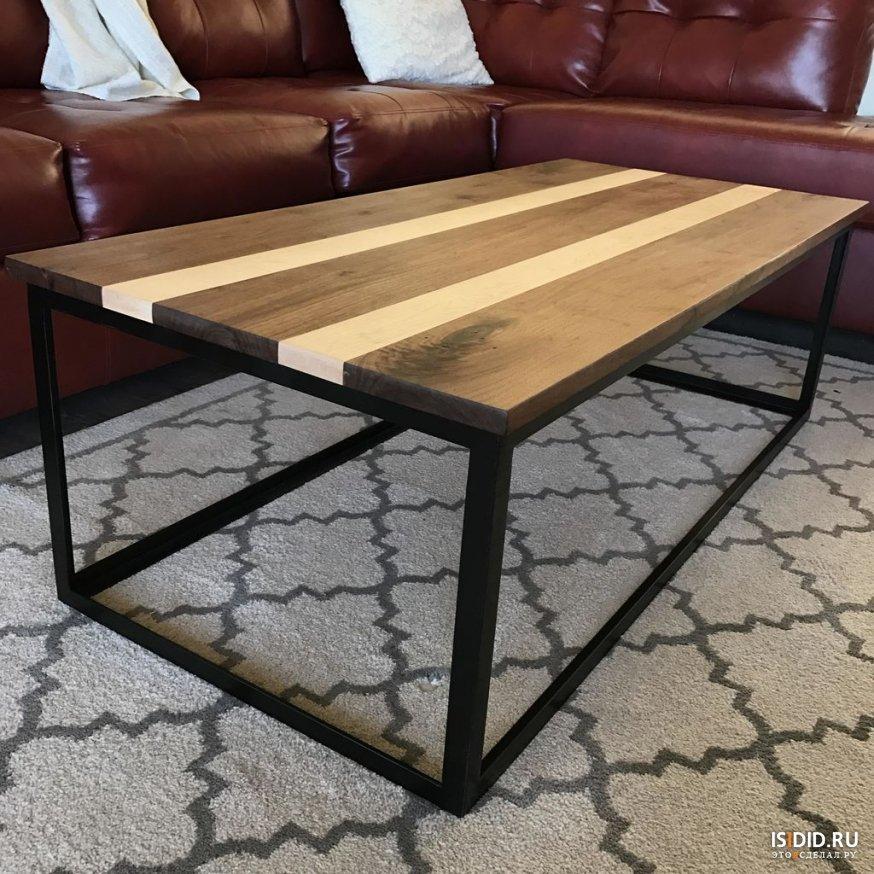 современный журнальный столик из дерева и металла своими руками