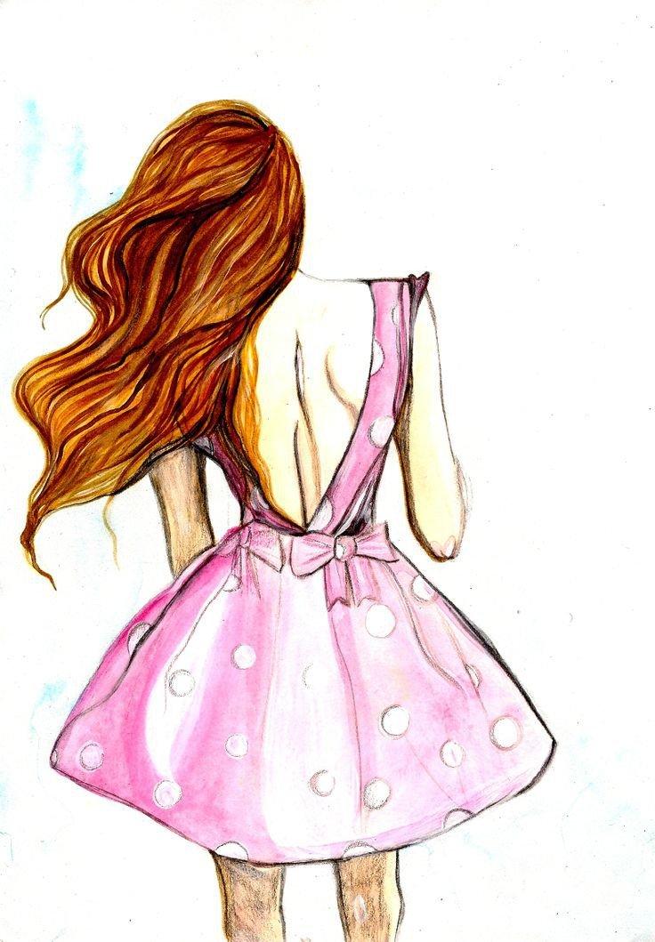 Времен ссср, прикольные и легкие рисунки для срисовки девочки со спины