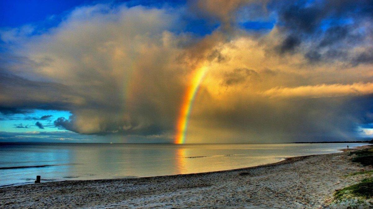 обои море радуга силу