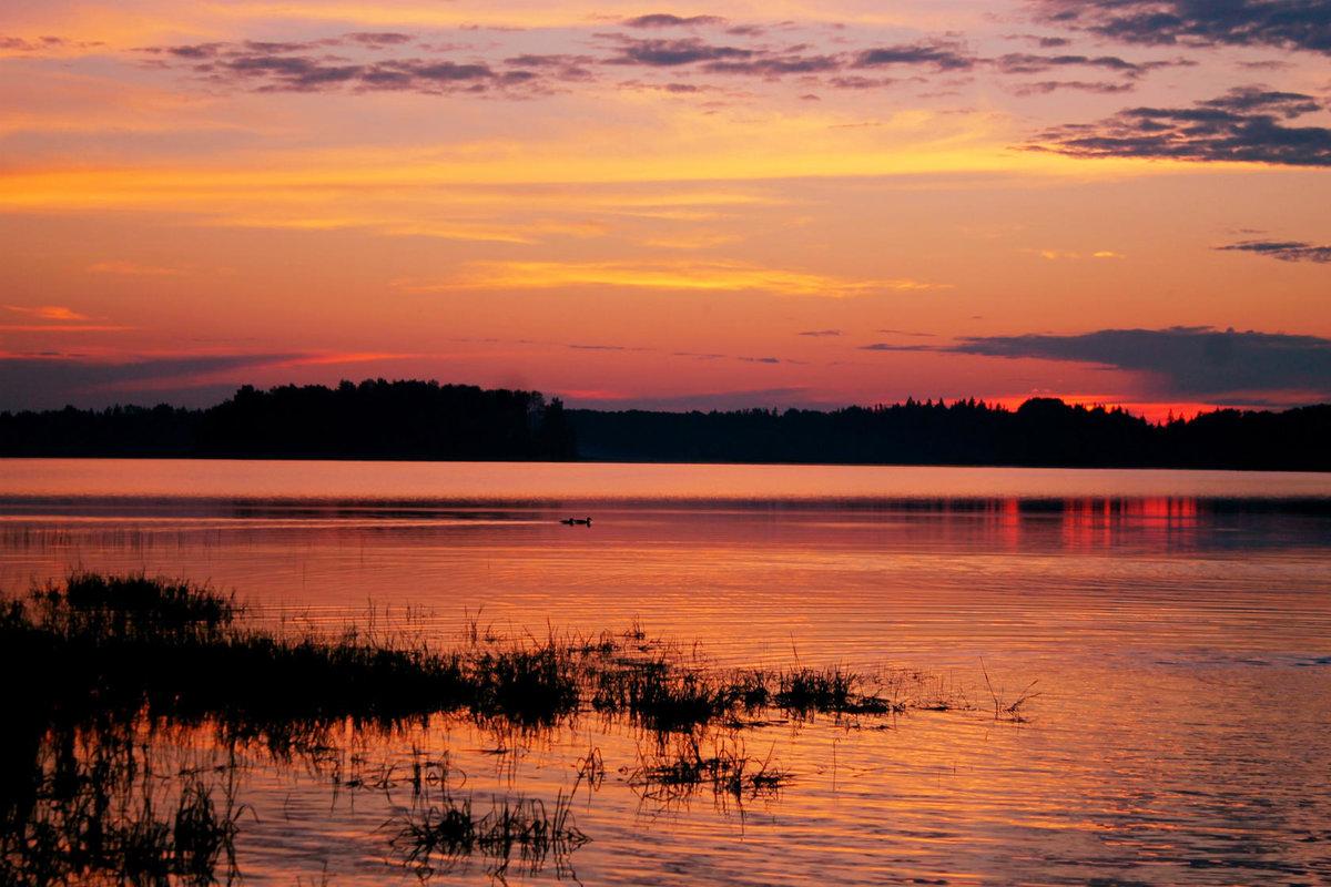 Найти фотографии озер на закате