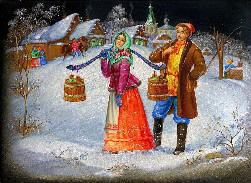 Новогодние открытки в русском народном стиле, картинки узбеков