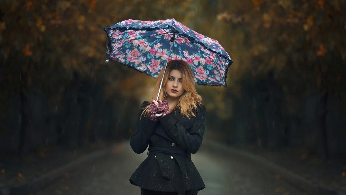 Девушка под зонтом картинки, привет