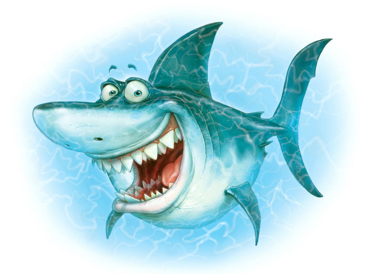 Открытка, смешной рисунок рыбки