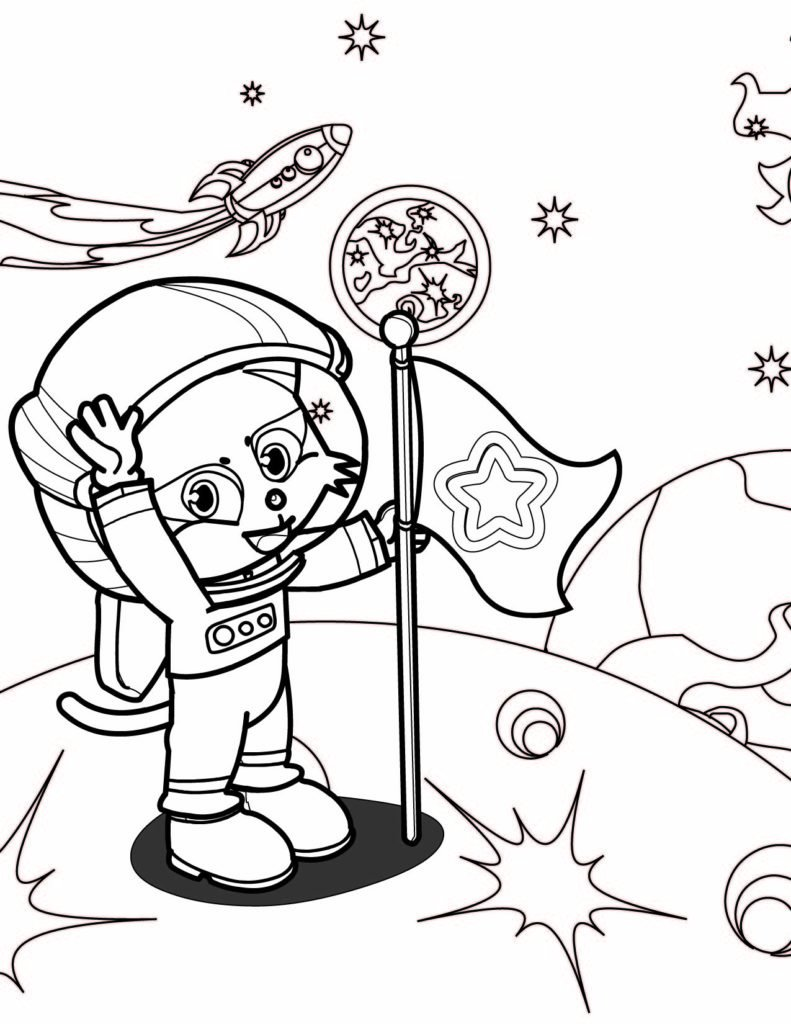 astronaut grabbing a star coloring page free printable - HD 791×1024