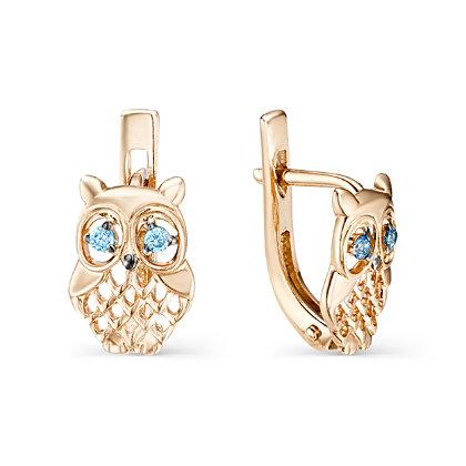 золотые детские серьги совы с голубыми фианитами» — карточка ... 5610839207a