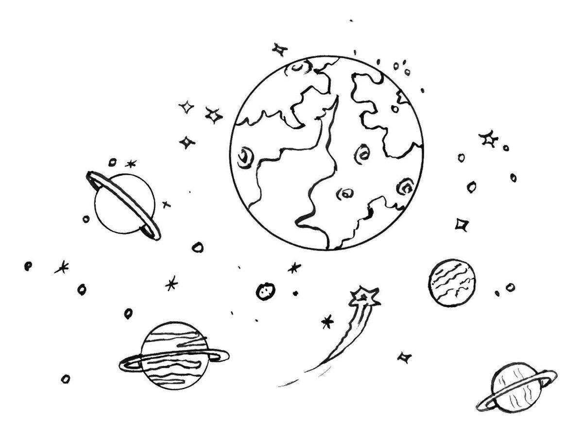 Картинки планет нарисованных карандашом
