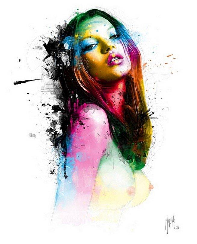 Девушки рисованные красками