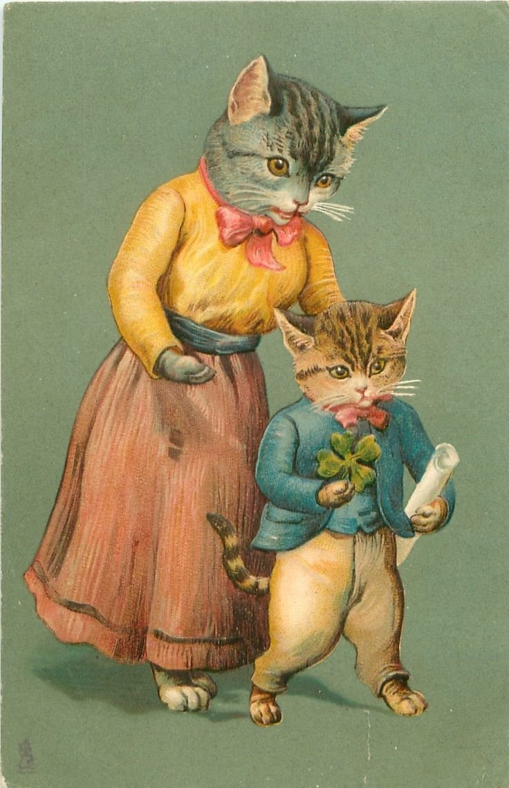 Здравствуйте, старинные открытки котов
