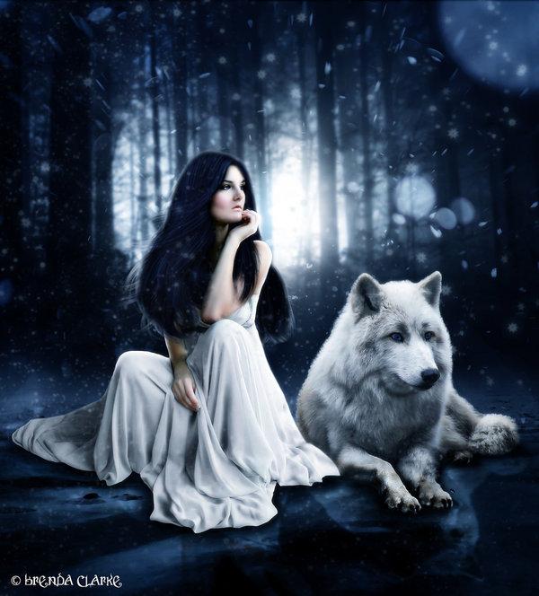 Картинка женщины с волком