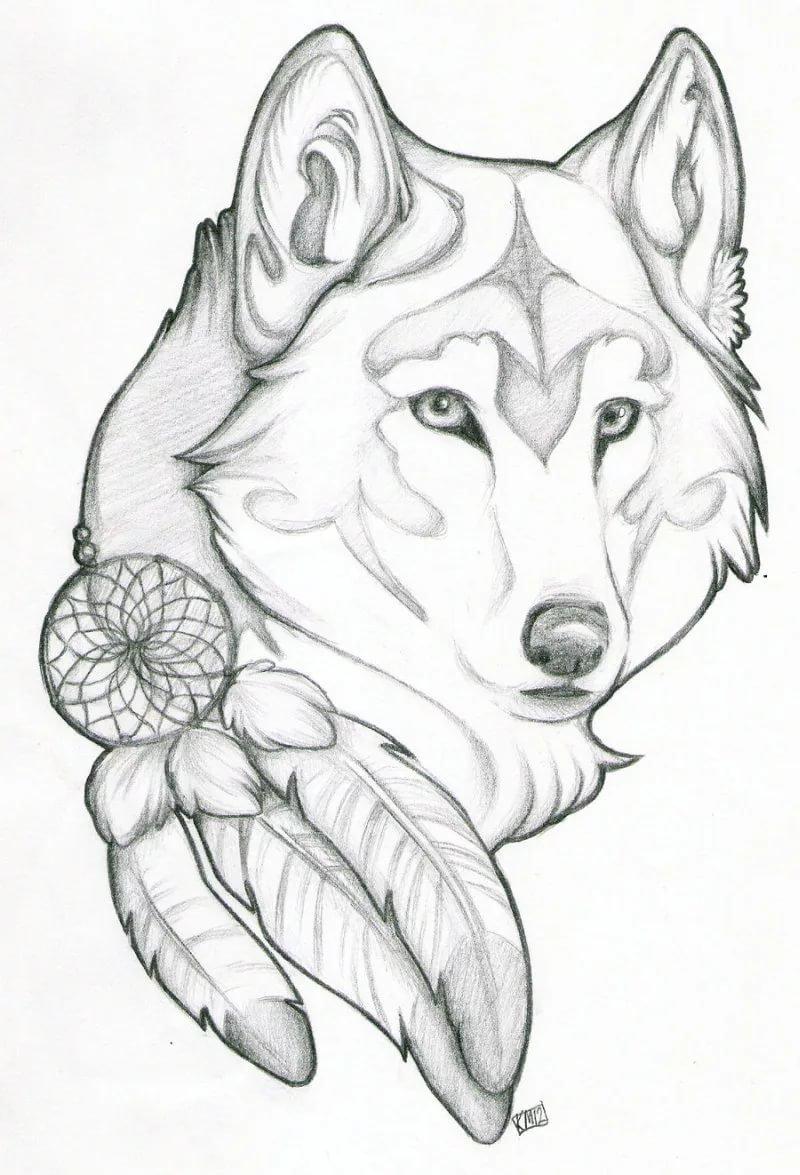 7b9ff6371 Wolf dream catcher tattoo design 3 - Tattoos Book - 65.000 T