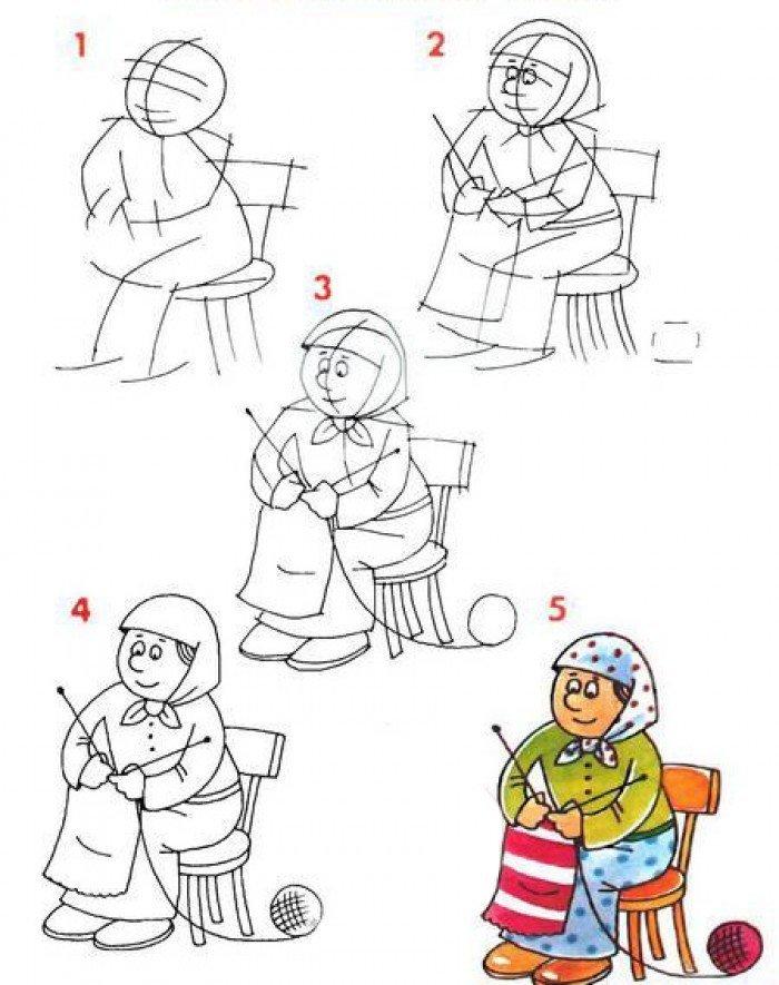 Серебряной, как нарисовать открытку для бабушки на день рождения поэтапно