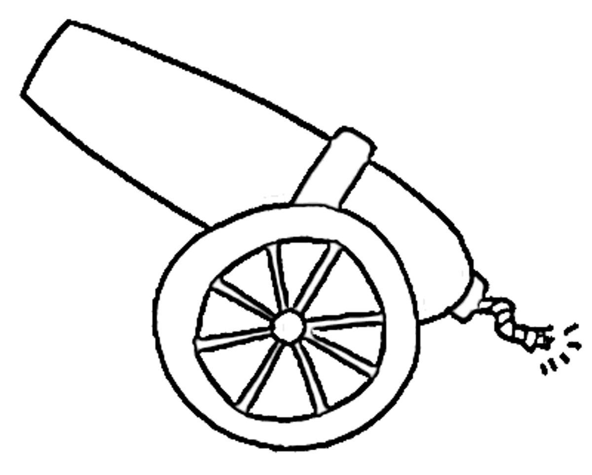 Картинка пушка для детей раскраска
