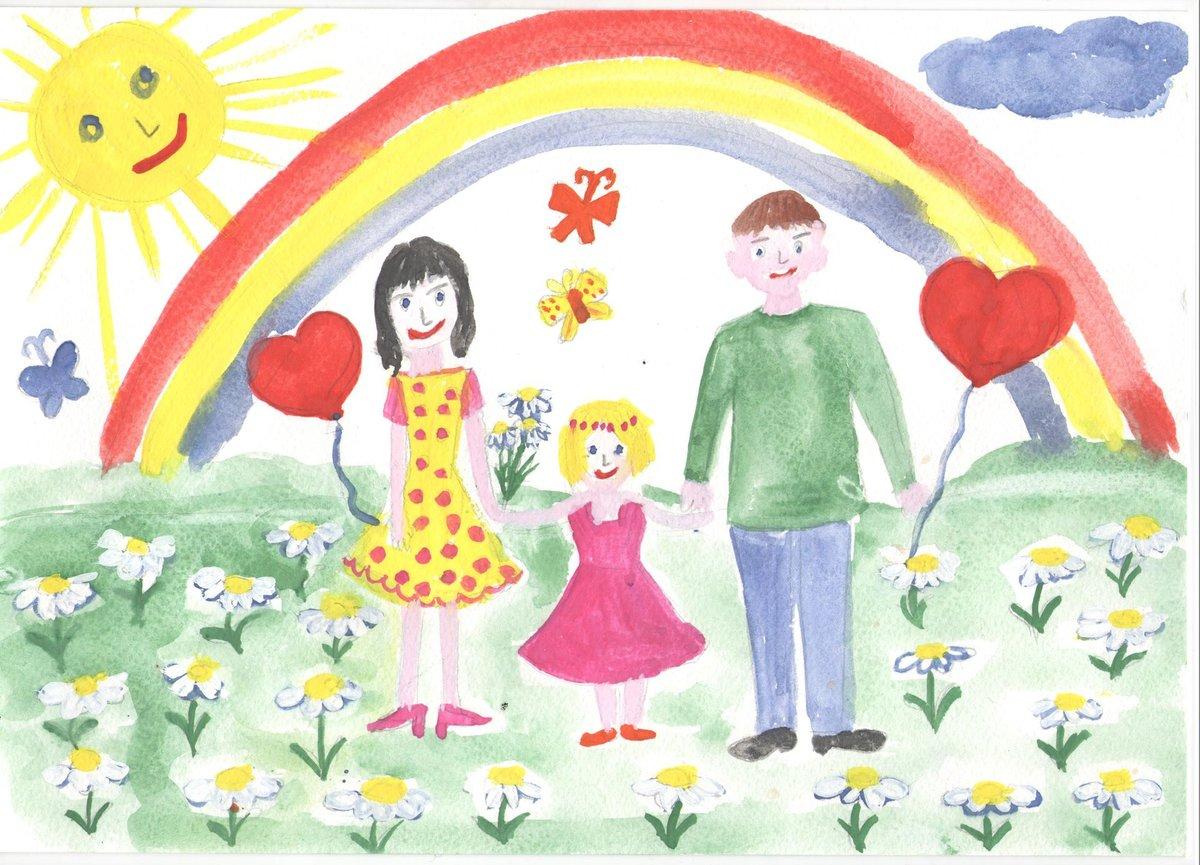 Нарисовать праздничную открытку посвященную году семьи, мастеров