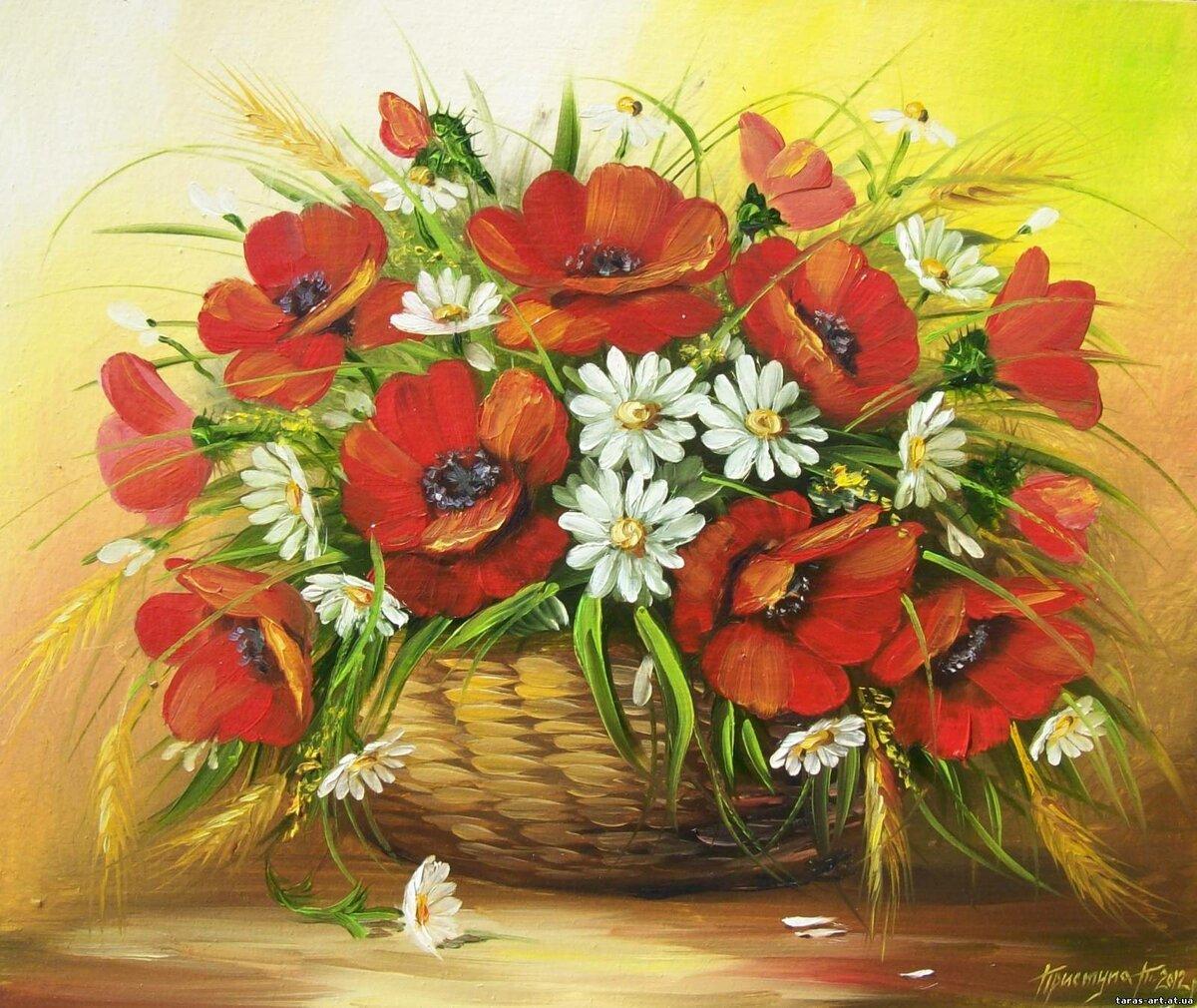 Открытка цветов с маком