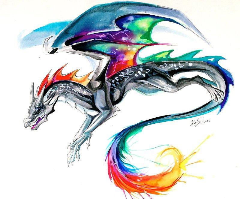 Картинки драконов цветных татуировок