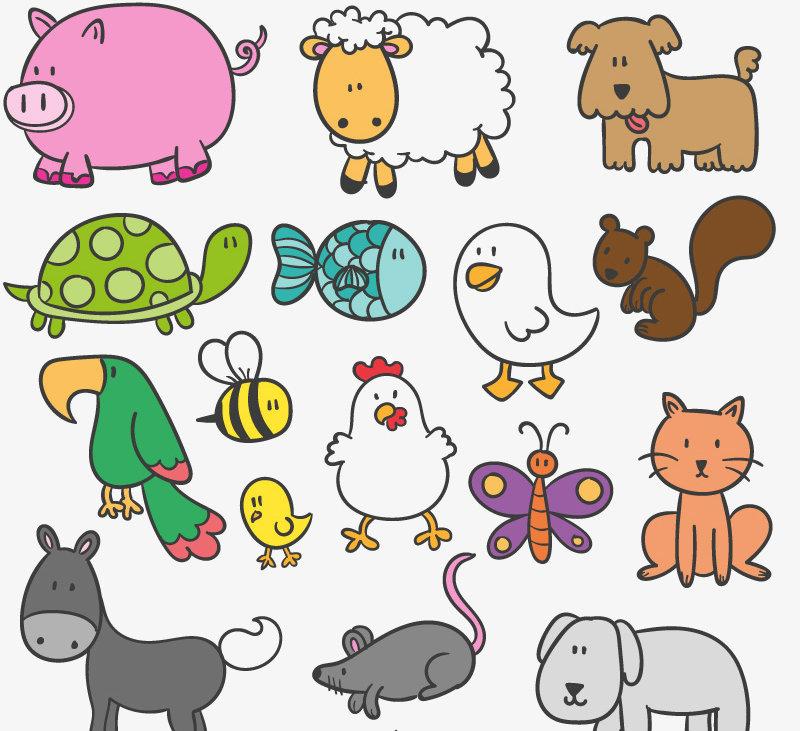 Стилизованные картинки животных для детей