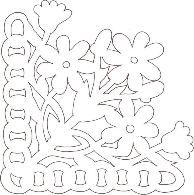 Шаблон цветов для открытки к 9 мая, тушью