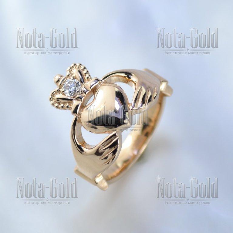 0de354ab763e Кладдахское кольцо из красного золота с крупным бриллиантом в короне (Вес   7 гр.