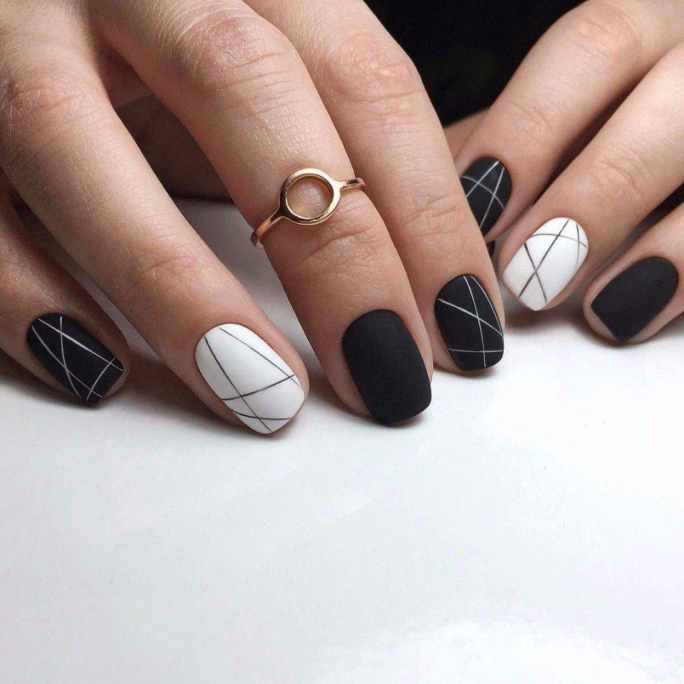 Черный матовый маникюр короткие ногти