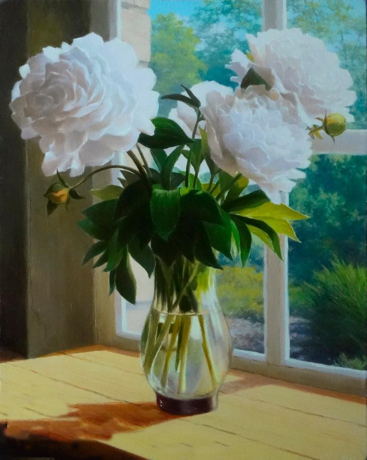 Это, картинки белые пионы в стеклянной вазе