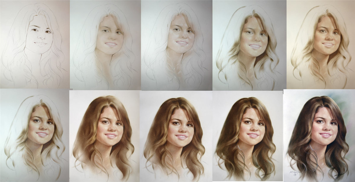 одними последних как рисовать портреты научиться по фотографиям убрать чёрную