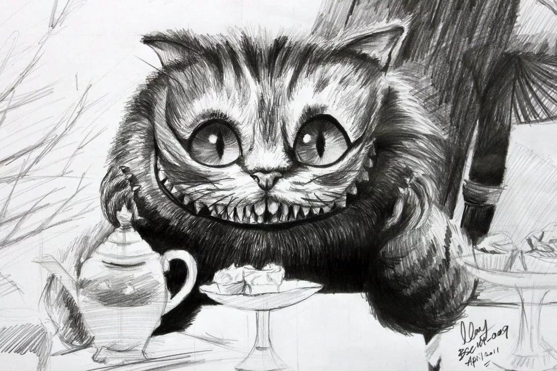 шапку чеширский кот из алисы в стране чудес картинки карандашом него различимы