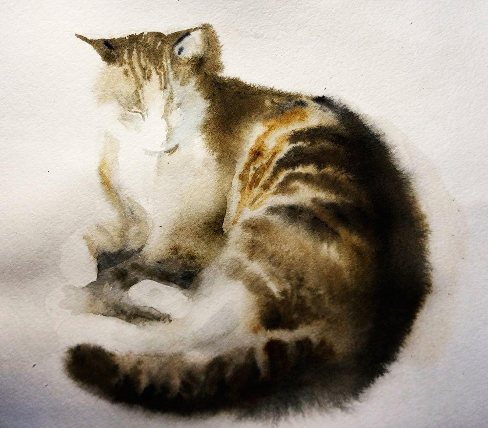 Рисунки кошки поэтапно гуашью лампы