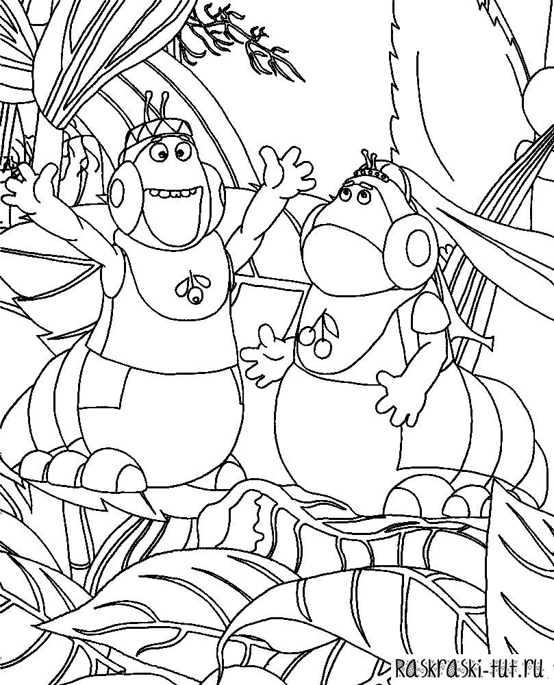 Раскраска лунтик и его друзья все вместе