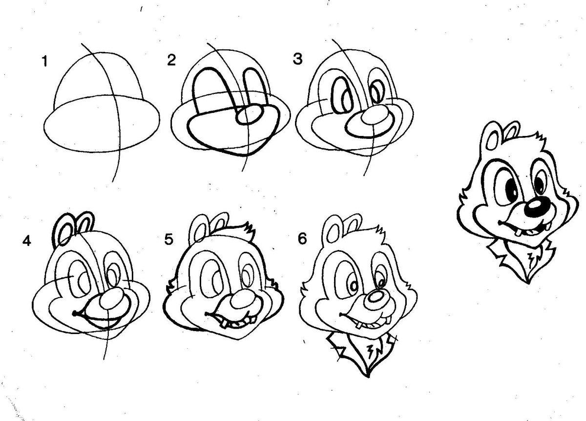 картинки мультяшек для рисования карандашом для начинающих