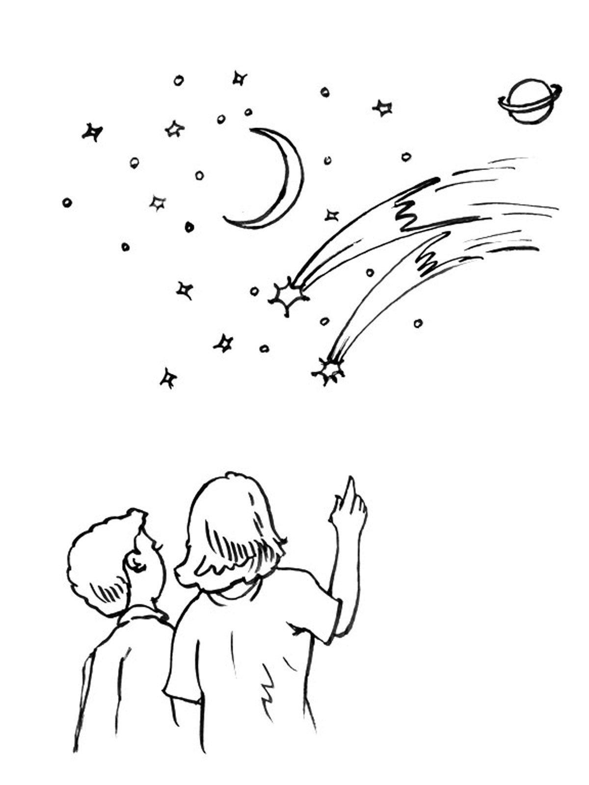 небо звезды рисунок карандашом дружелюбный