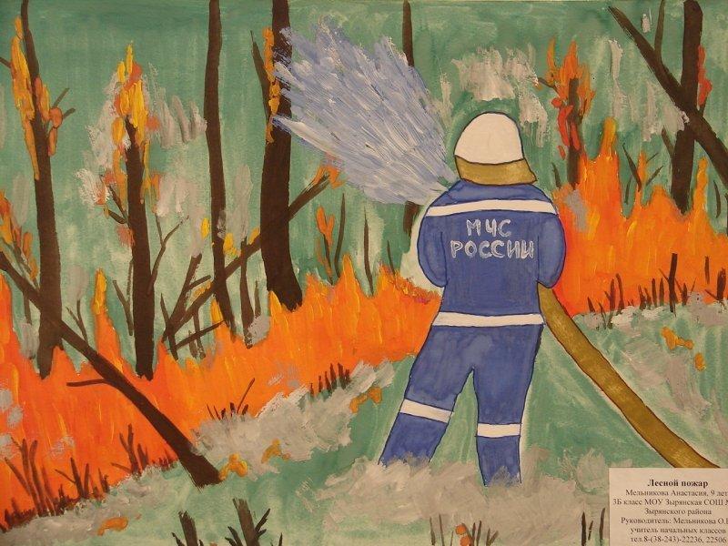 Рисунок пожар в лесу красками