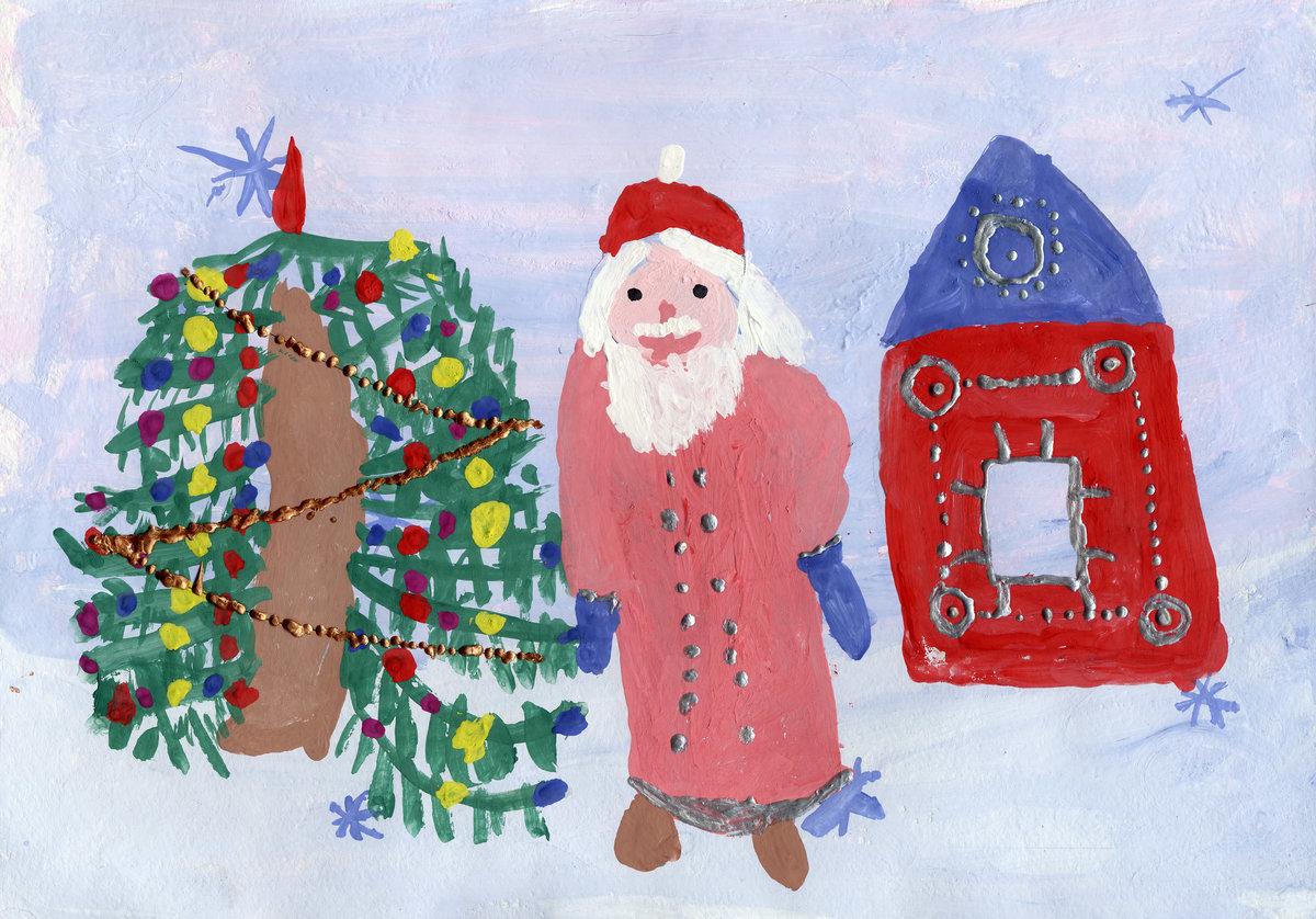 Картинки на новый год нарисовать деда мороза