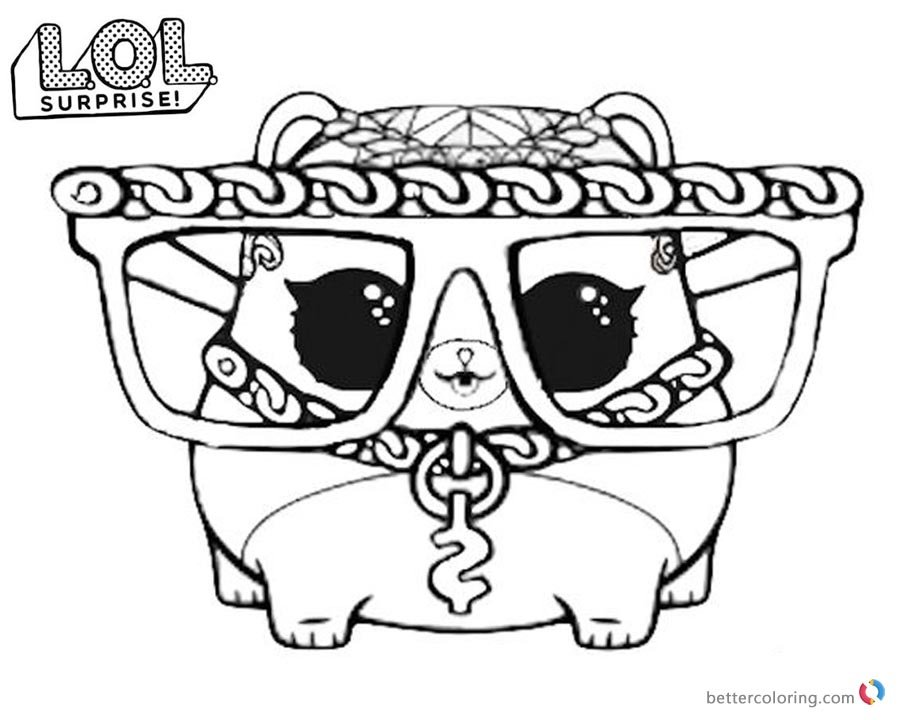 lol surprise coloring pages series 3 m c hammy free print card